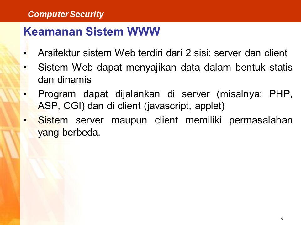 Keamanan Sistem WWW Arsitektur sistem Web terdiri dari 2 sisi: server dan client. Sistem Web dapat menyajikan data dalam bentuk statis dan dinamis.