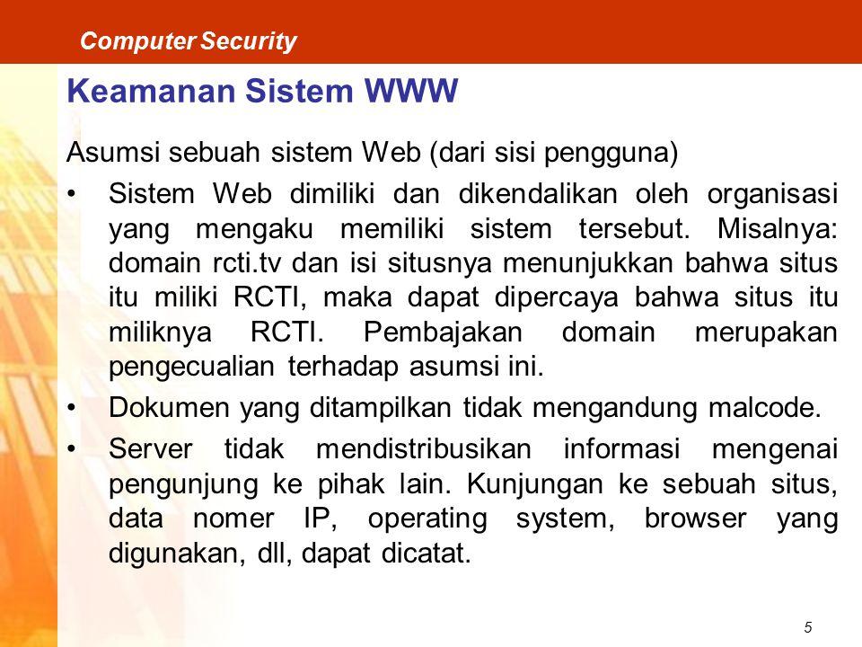 Keamanan Sistem WWW Asumsi sebuah sistem Web (dari sisi pengguna)