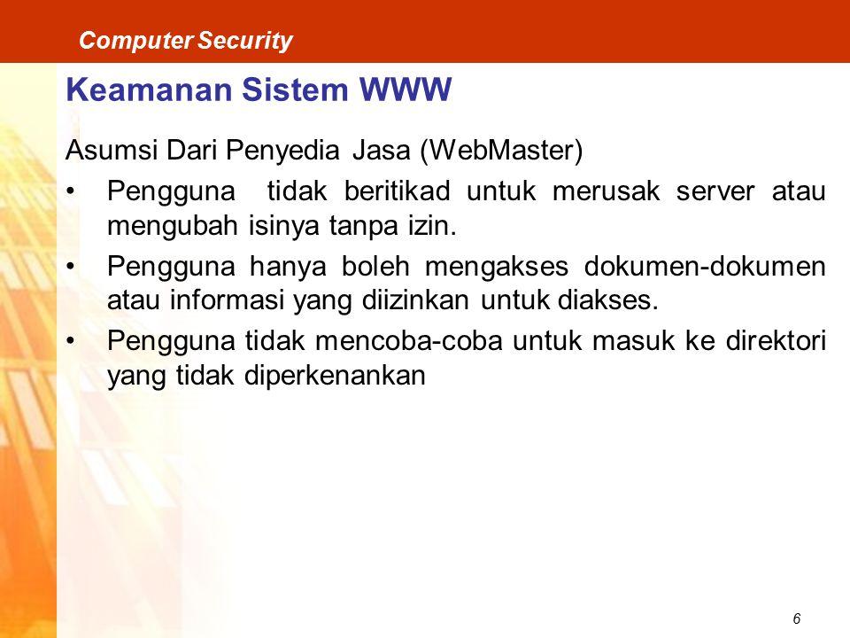 Keamanan Sistem WWW Asumsi Dari Penyedia Jasa (WebMaster)