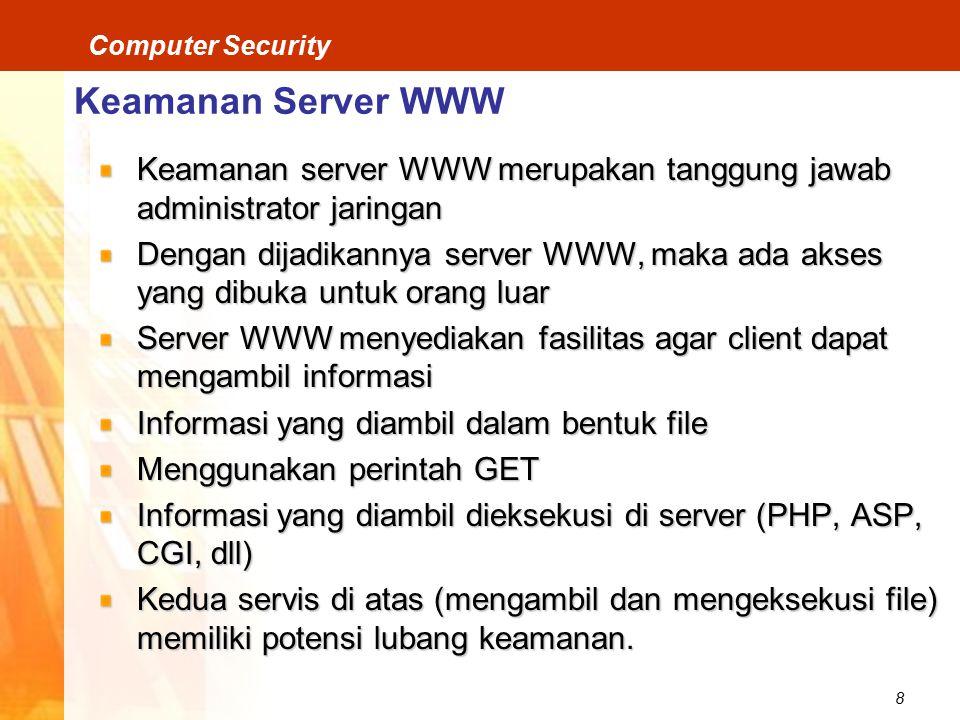 Keamanan Server WWW Keamanan server WWW merupakan tanggung jawab administrator jaringan.