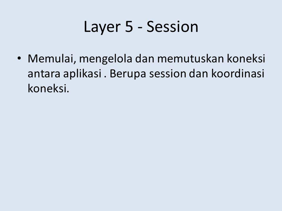 Layer 5 - Session Memulai, mengelola dan memutuskan koneksi antara aplikasi .