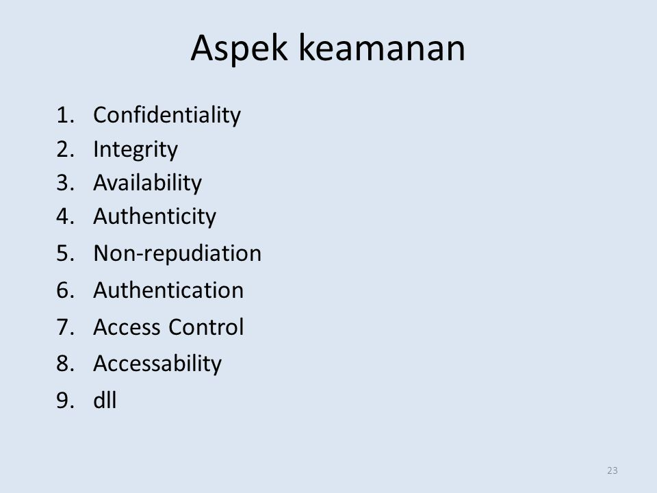 Aspek keamanan Confidentiality Integrity Availability Authenticity