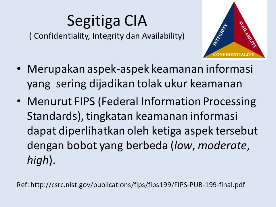 Segitiga CIA ( Confidentiality, Integrity dan Availability)