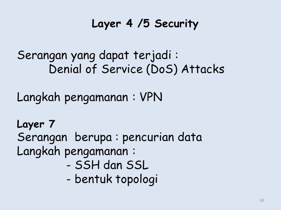 Serangan yang dapat terjadi : Denial of Service (DoS) Attacks