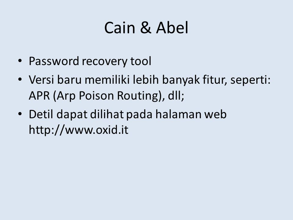 Cain & Abel Password recovery tool