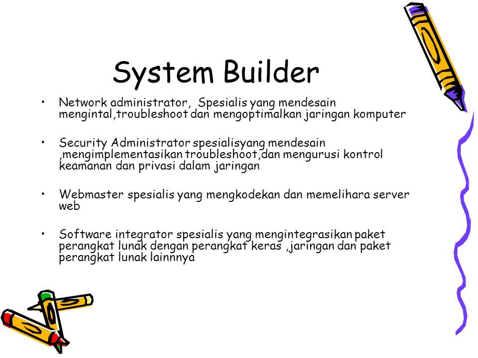 System Builder Network administrator, Spesialis yang mendesain mengintal,troubleshoot dan mengoptimalkan jaringan komputer.
