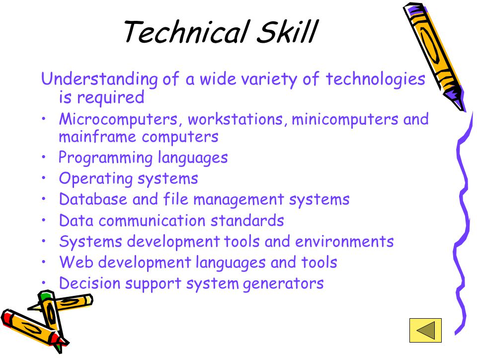 Technical Skill Understanding of a wide variety of technologies is required. Microcomputers, workstations, minicomputers and mainframe computers.