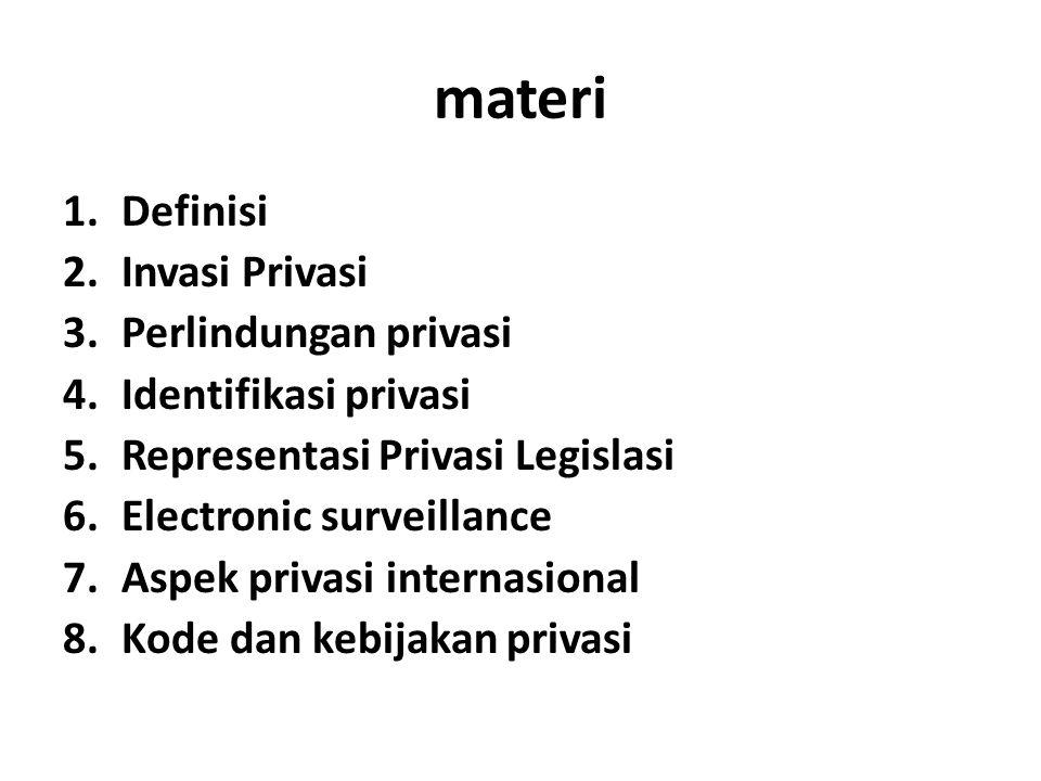 materi Definisi Invasi Privasi Perlindungan privasi