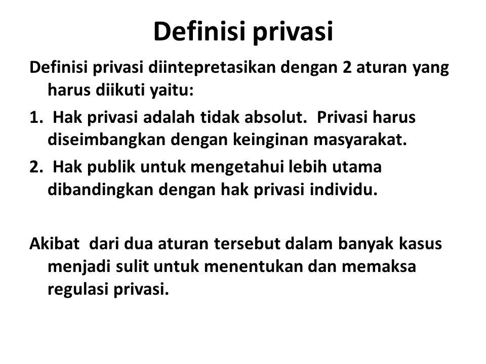 Definisi privasi Definisi privasi diintepretasikan dengan 2 aturan yang harus diikuti yaitu:
