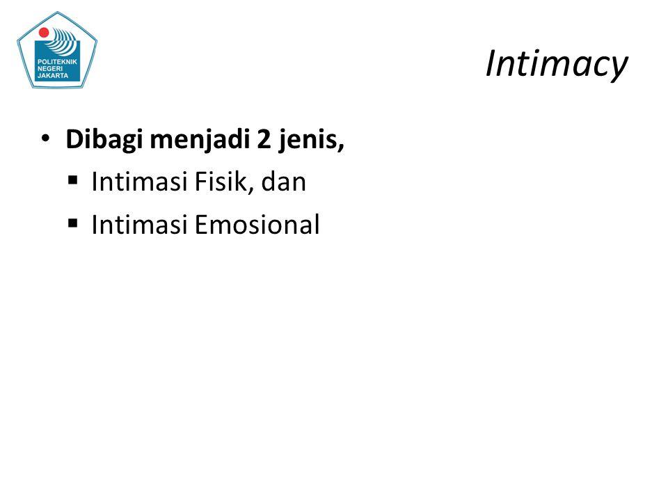 Intimacy Dibagi menjadi 2 jenis, Intimasi Fisik, dan