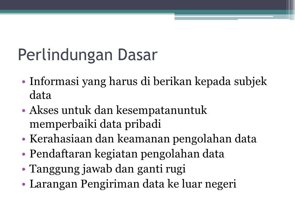 Perlindungan Dasar Informasi yang harus di berikan kepada subjek data