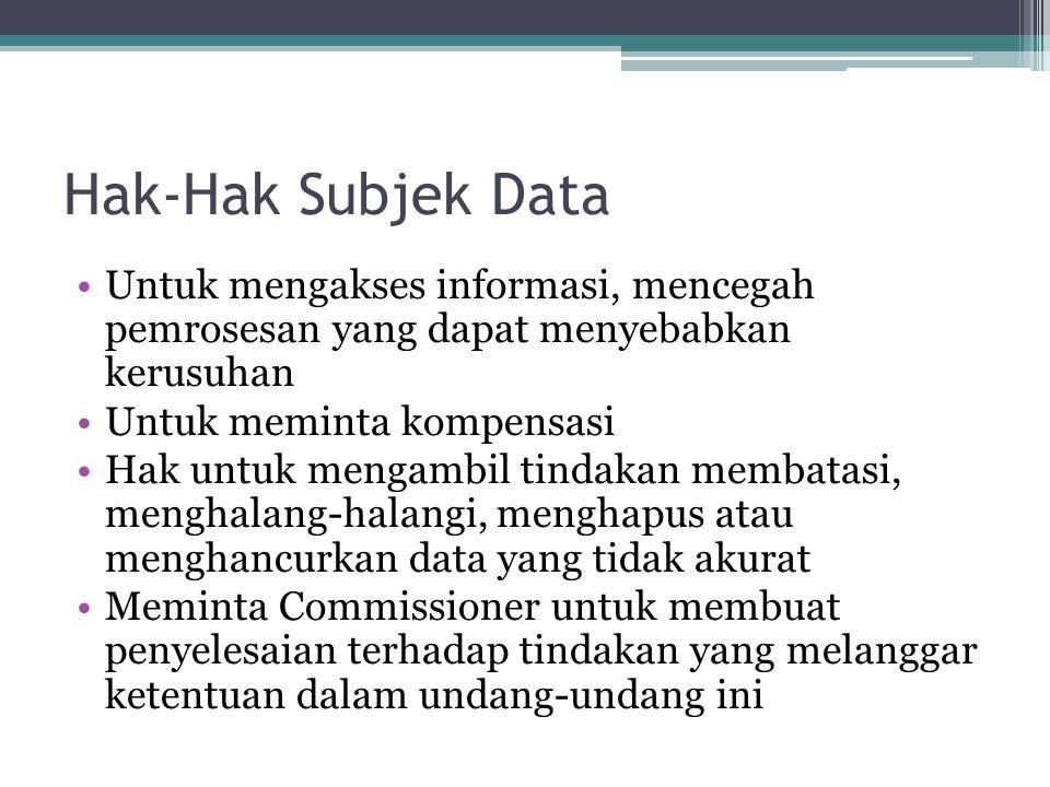 Hak-Hak Subjek Data Untuk mengakses informasi, mencegah pemrosesan yang dapat menyebabkan kerusuhan.