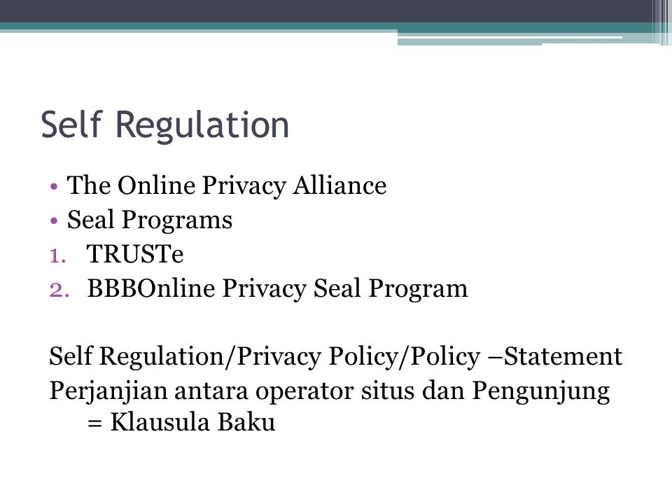 Self Regulation The Online Privacy Alliance Seal Programs TRUSTe