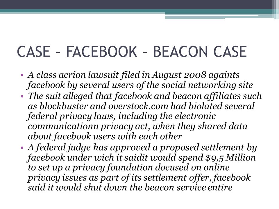 CASE – FACEBOOK – BEACON CASE