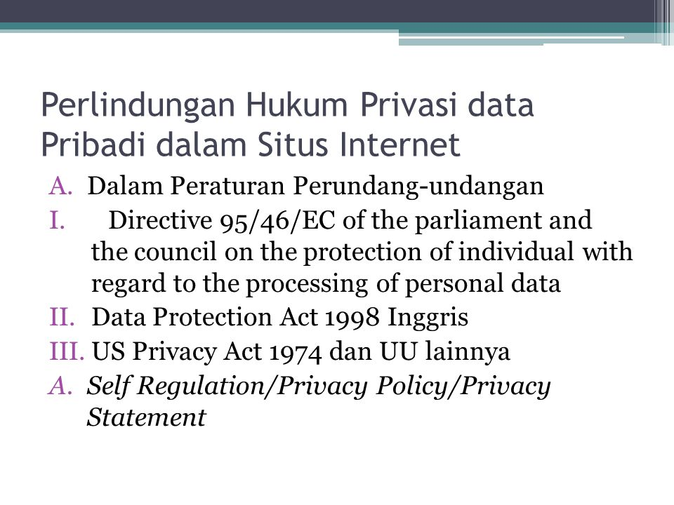 Perlindungan Hukum Privasi data Pribadi dalam Situs Internet