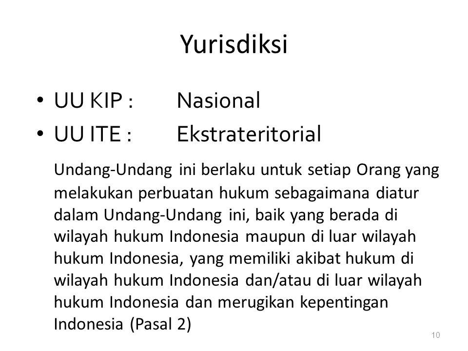 Yurisdiksi UU KIP : Nasional UU ITE : Ekstrateritorial
