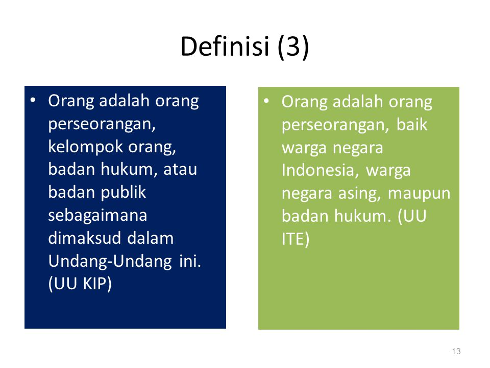 Definisi (3) Orang adalah orang perseorangan, kelompok orang, badan hukum, atau badan publik sebagaimana dimaksud dalam Undang-Undang ini. (UU KIP)