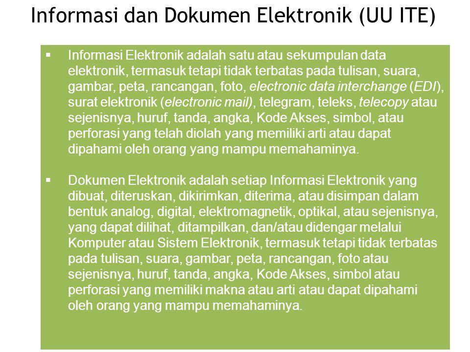 Informasi dan Dokumen Elektronik (UU ITE)