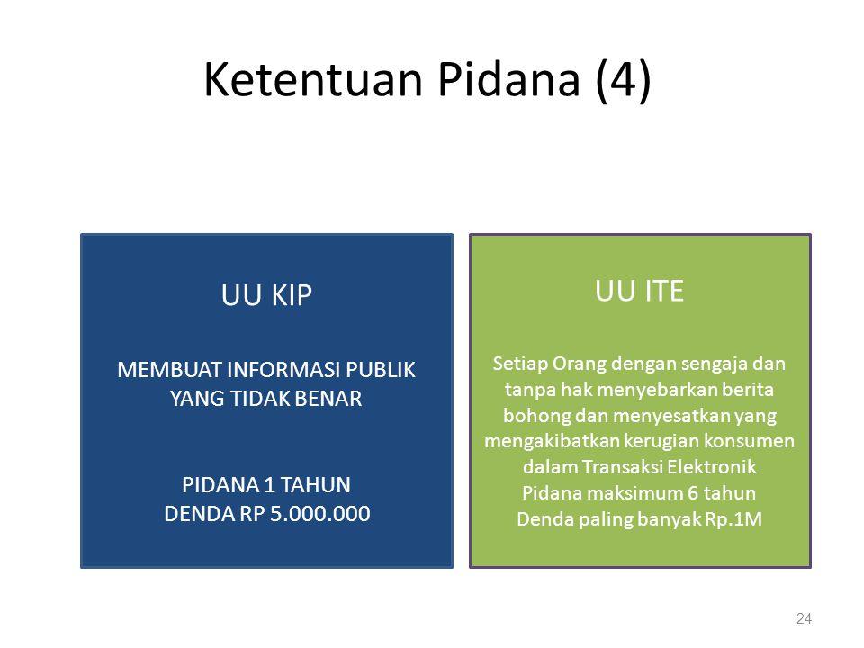 Ketentuan Pidana (4) UU KIP UU ITE