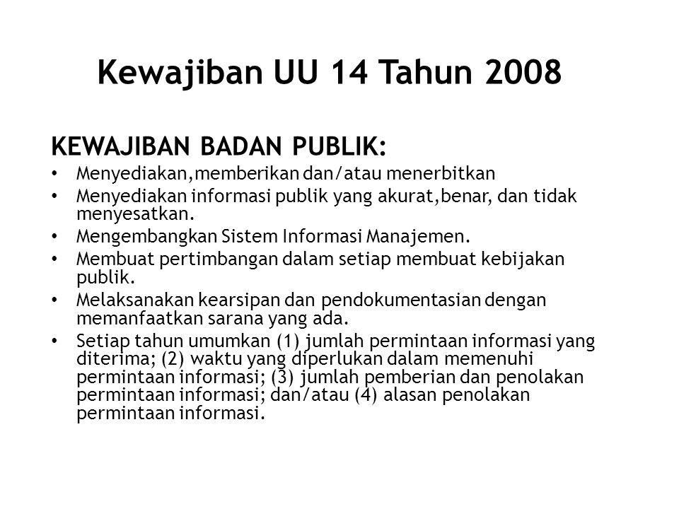 Kewajiban UU 14 Tahun 2008 KEWAJIBAN BADAN PUBLIK: