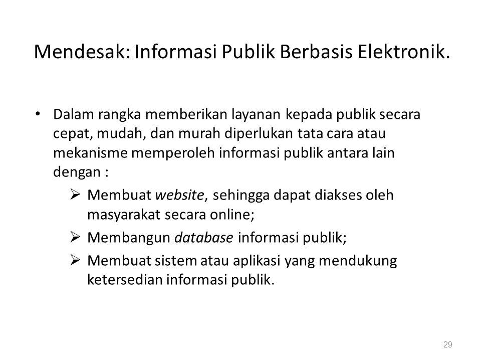 Mendesak: Informasi Publik Berbasis Elektronik.