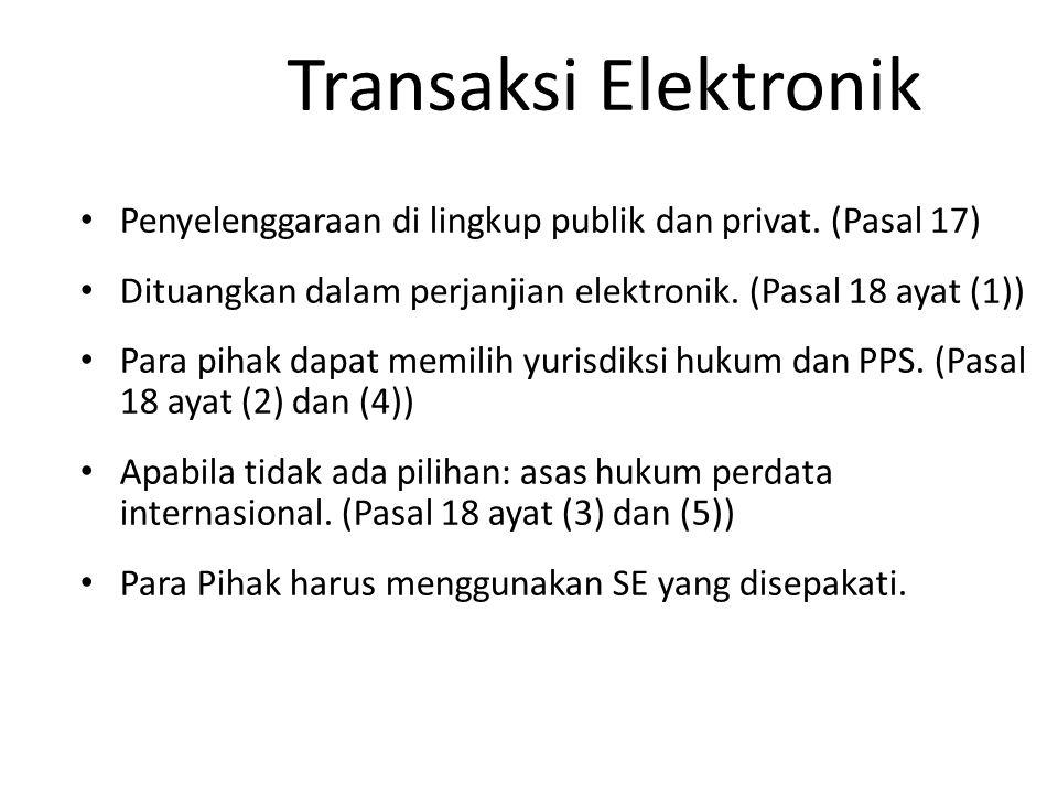 Transaksi Elektronik Penyelenggaraan di lingkup publik dan privat. (Pasal 17) Dituangkan dalam perjanjian elektronik. (Pasal 18 ayat (1))