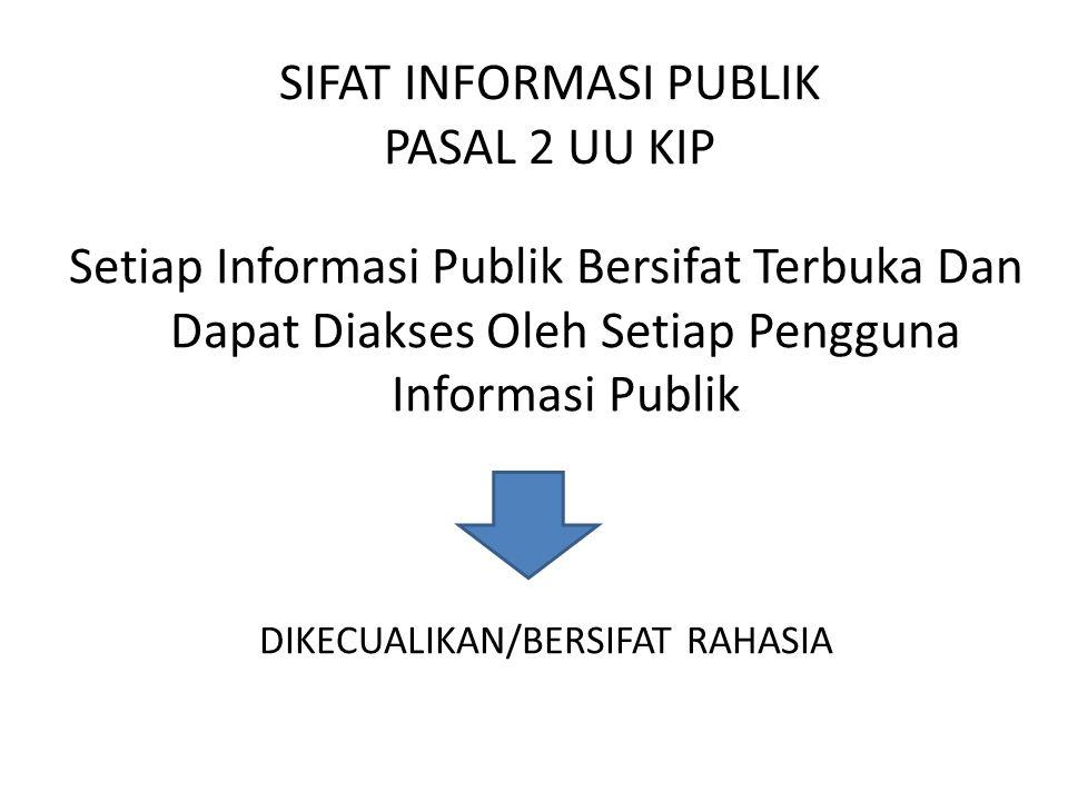 SIFAT INFORMASI PUBLIK PASAL 2 UU KIP