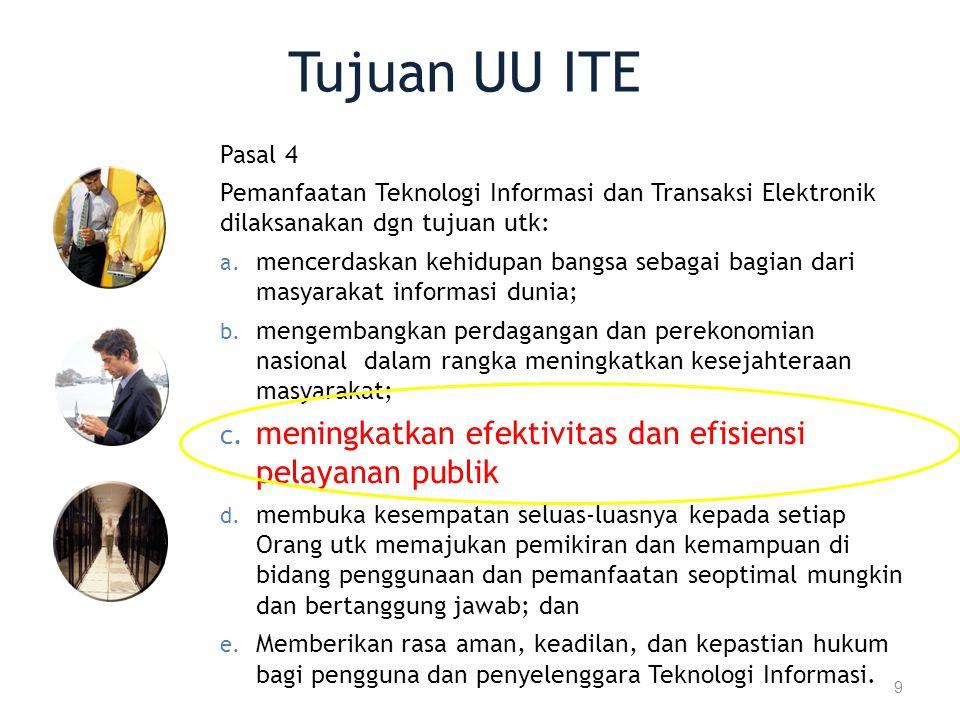 Tujuan UU ITE meningkatkan efektivitas dan efisiensi pelayanan publik