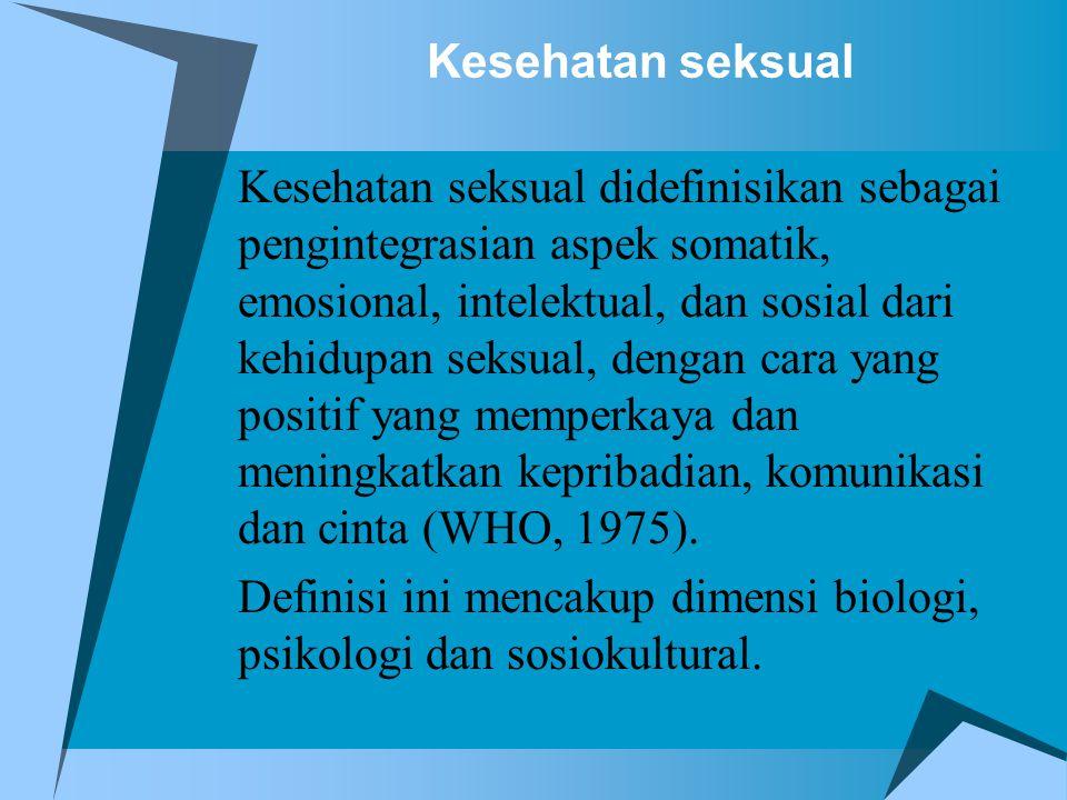 Definisi ini mencakup dimensi biologi, psikologi dan sosiokultural.