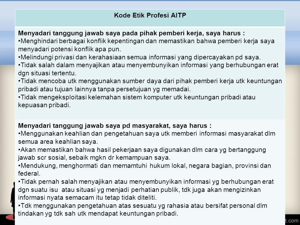 Kode Etik Profesi AITP Menyadari tanggung jawab saya pada pihak pemberi kerja, saya harus :