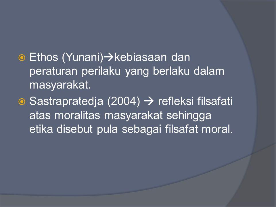Ethos (Yunani)kebiasaan dan peraturan perilaku yang berlaku dalam masyarakat.