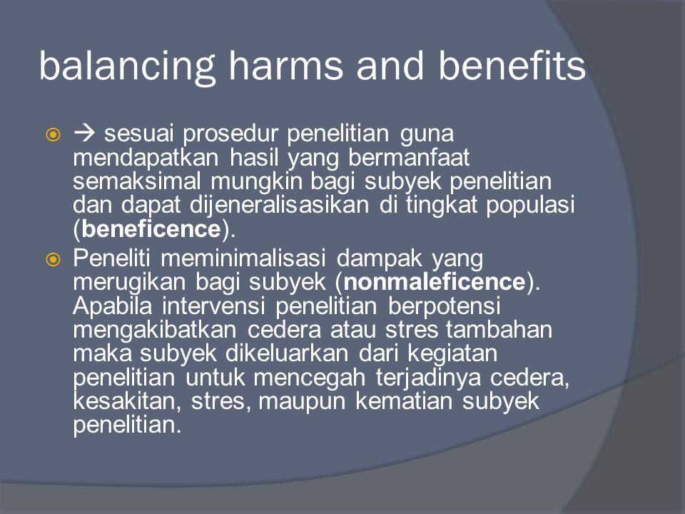 balancing harms and benefits