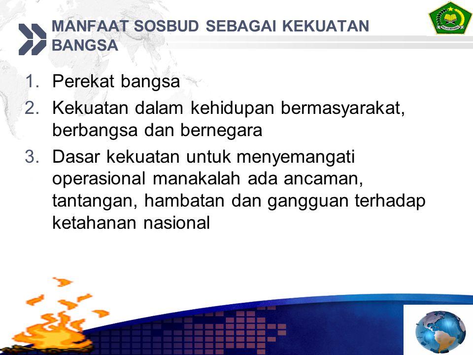 MANFAAT SOSBUD SEBAGAI KEKUATAN BANGSA