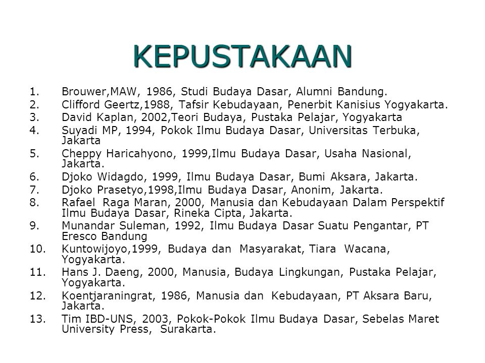 KEPUSTAKAAN Brouwer,MAW, 1986, Studi Budaya Dasar, Alumni Bandung.