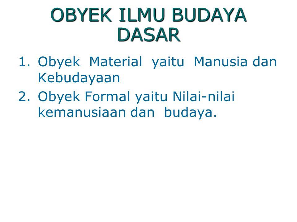 OBYEK ILMU BUDAYA DASAR
