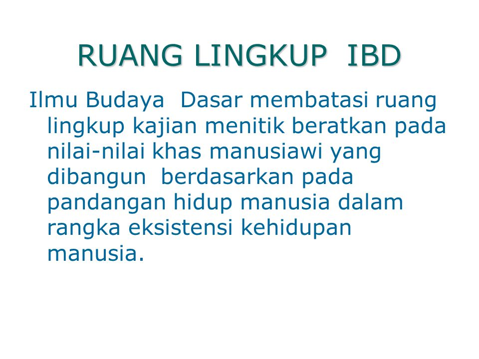 RUANG LINGKUP IBD