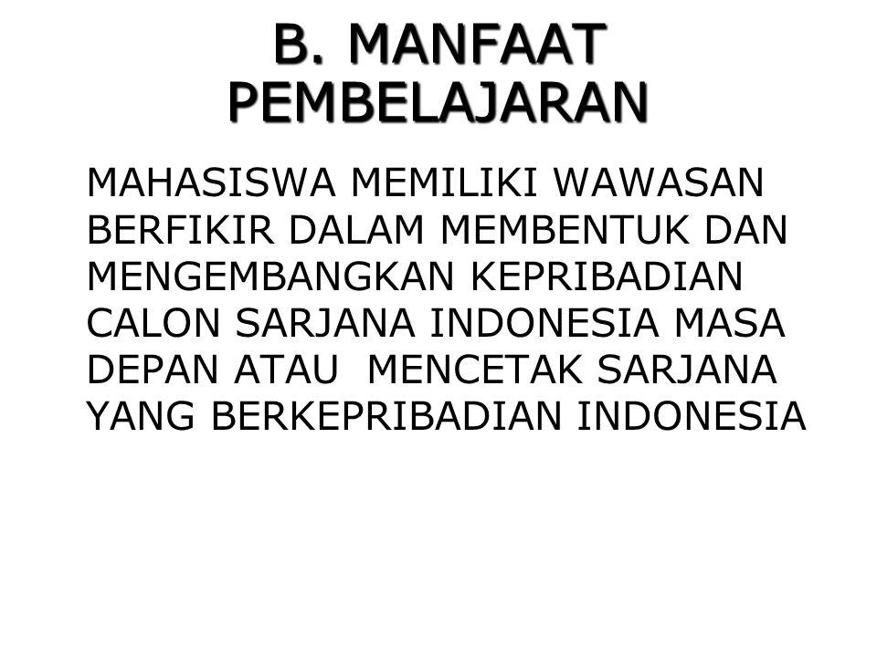 B. MANFAAT PEMBELAJARAN