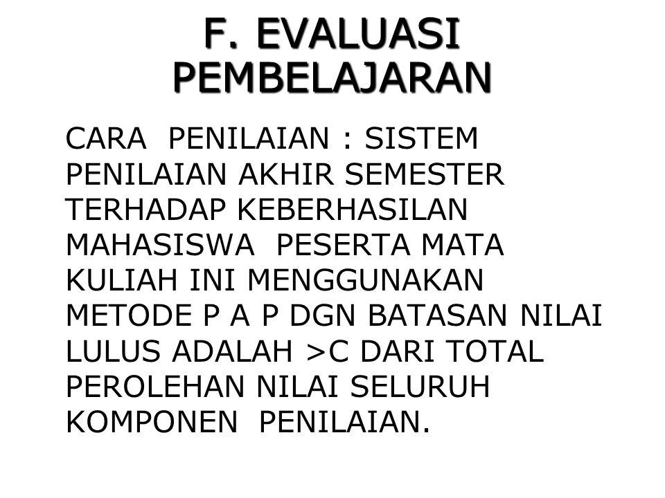 F. EVALUASI PEMBELAJARAN