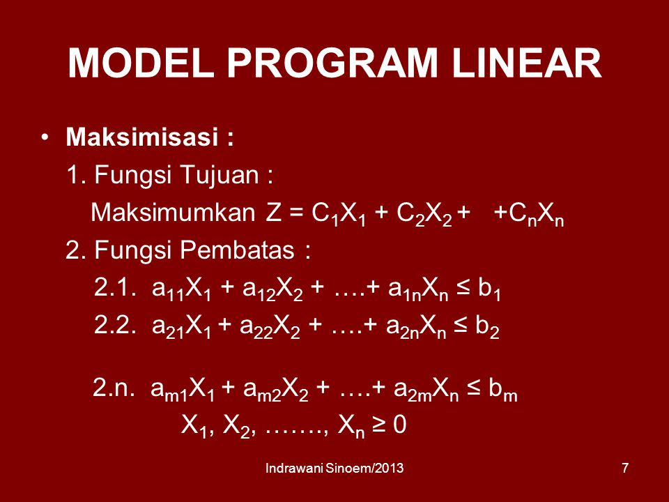 MODEL PROGRAM LINEAR Maksimisasi : 1. Fungsi Tujuan :