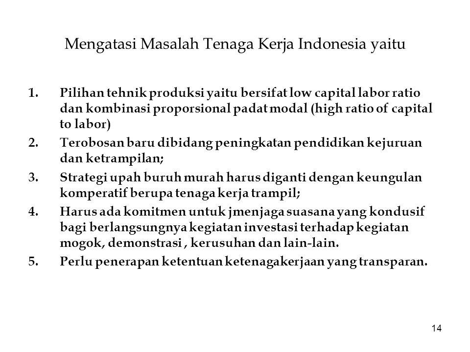 Mengatasi Masalah Tenaga Kerja Indonesia yaitu