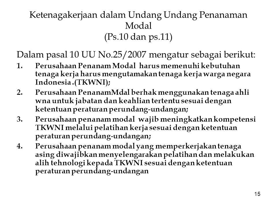 Ketenagakerjaan dalam Undang Undang Penanaman Modal (Ps.10 dan ps.11)