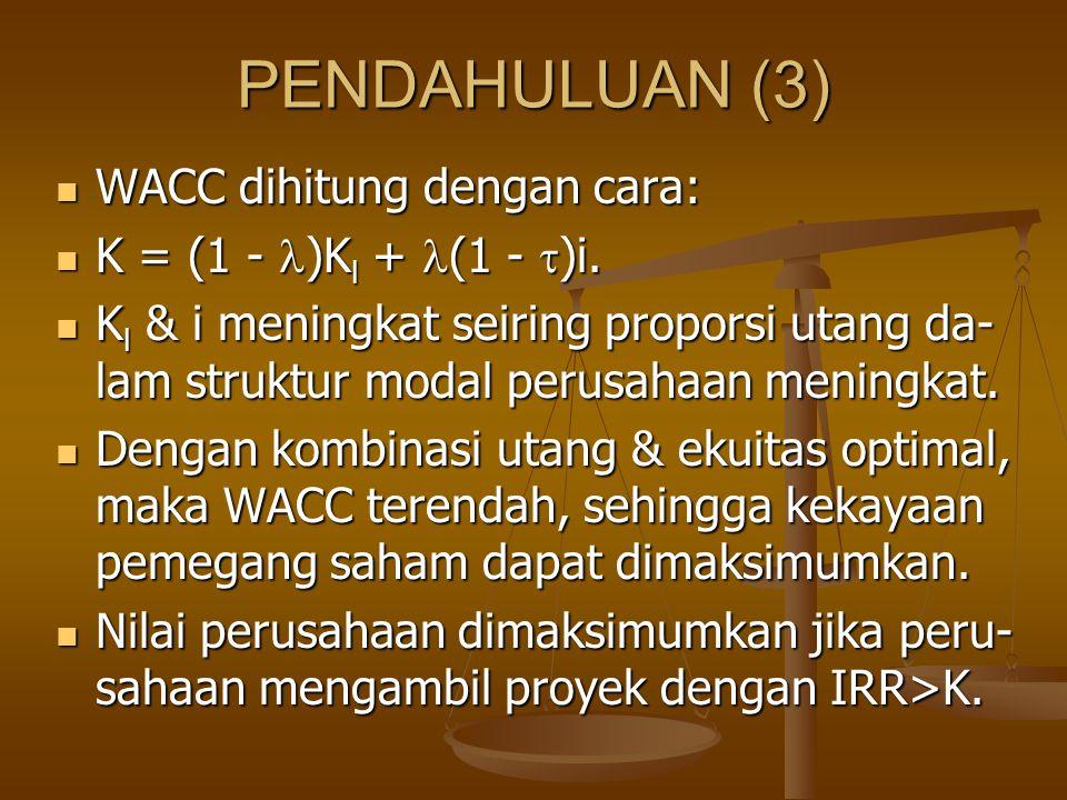 PENDAHULUAN (3) WACC dihitung dengan cara: K = (1 - )Kl + (1 - )i.