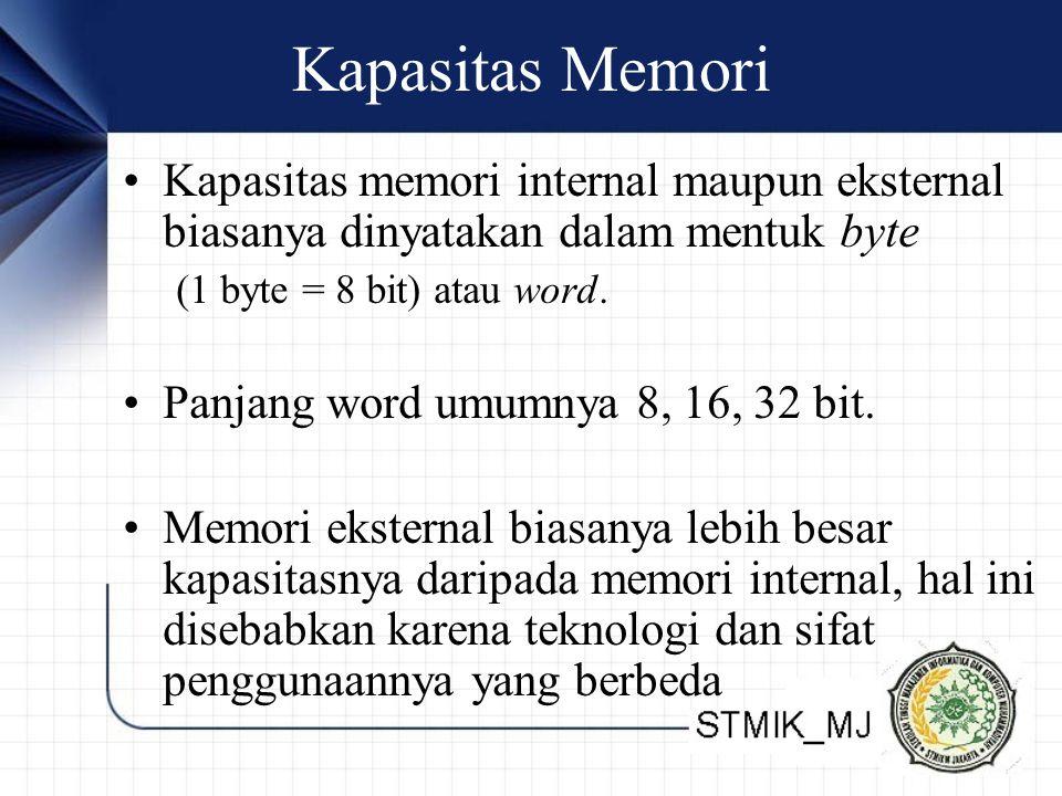 Kapasitas Memori Kapasitas memori internal maupun eksternal biasanya dinyatakan dalam mentuk byte. (1 byte = 8 bit) atau word.
