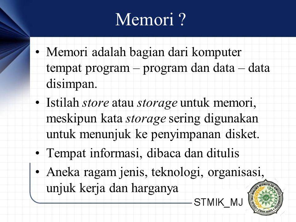 Memori Memori adalah bagian dari komputer tempat program – program dan data – data disimpan.