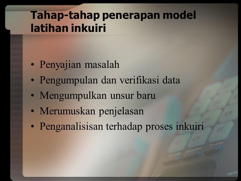 Tahap-tahap penerapan model latihan inkuiri