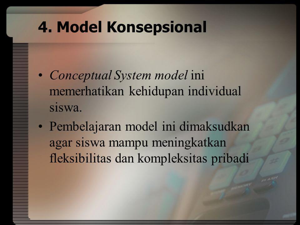 4. Model Konsepsional Conceptual System model ini memerhatikan kehidupan individual siswa.