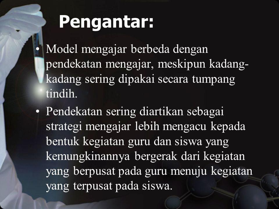Pengantar: Model mengajar berbeda dengan pendekatan mengajar, meskipun kadang-kadang sering dipakai secara tumpang tindih.