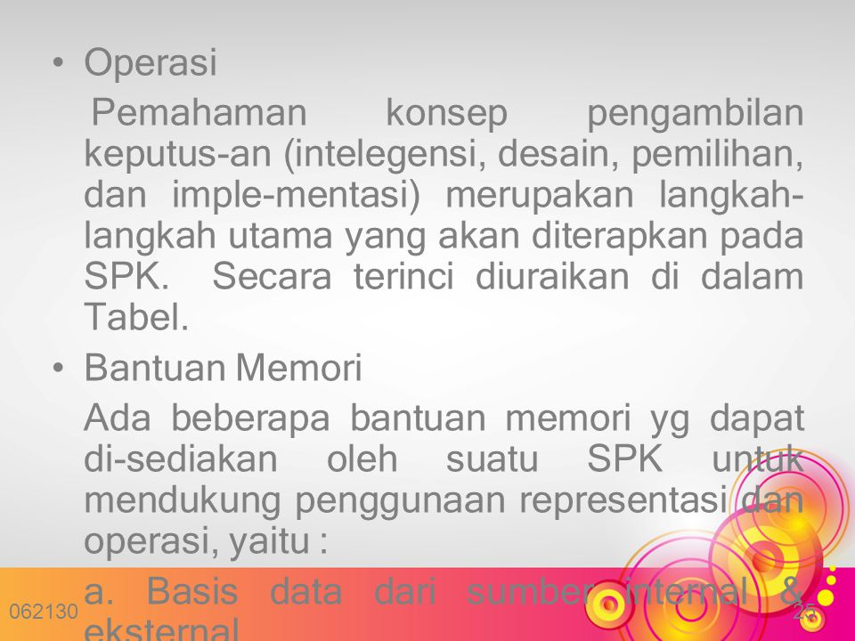 a. Basis data dari sumber internal & eksternal organisasi.