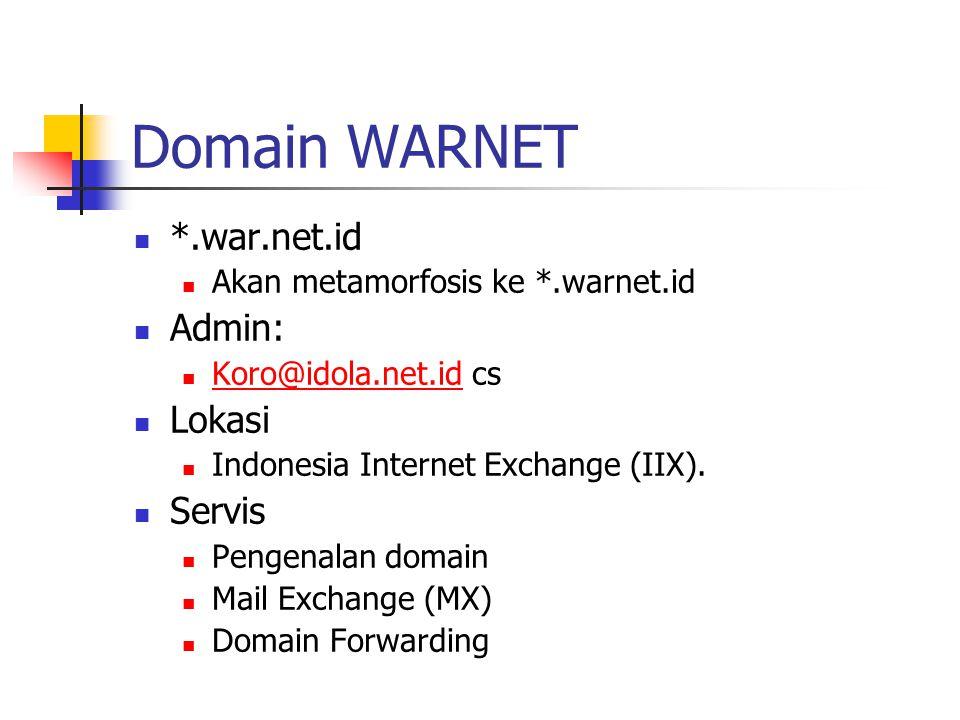 Domain WARNET *.war.net.id Admin: Lokasi Servis
