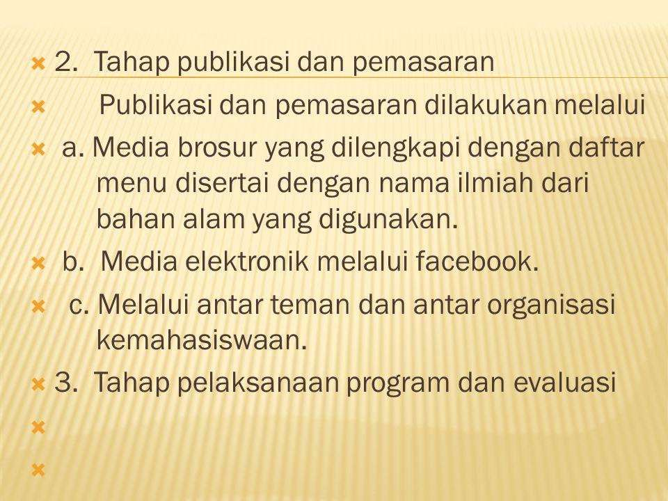 2. Tahap publikasi dan pemasaran